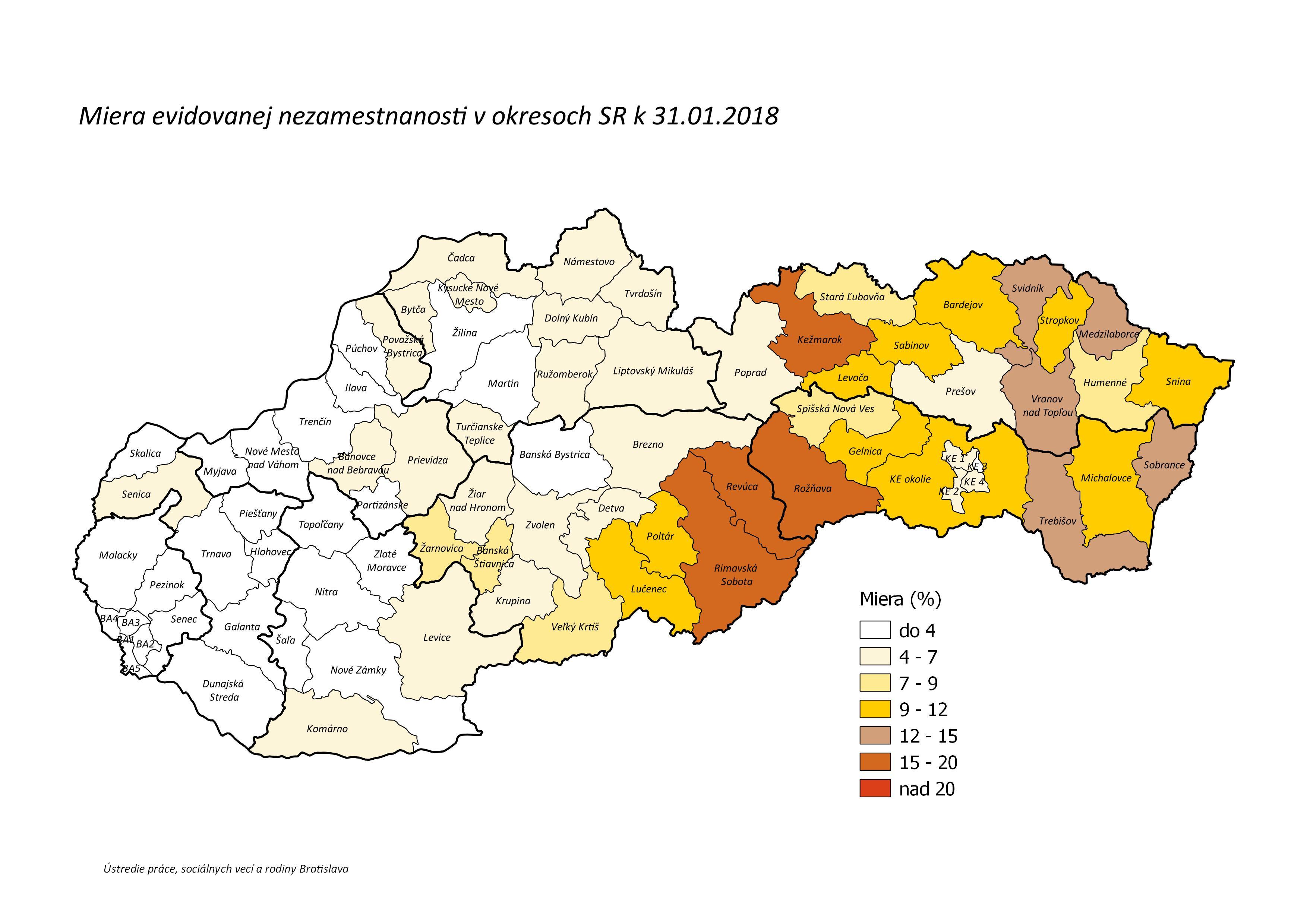 Miera evidovanej nezamestnanosti, nezamestnanosť v okresoch SR - január 2018