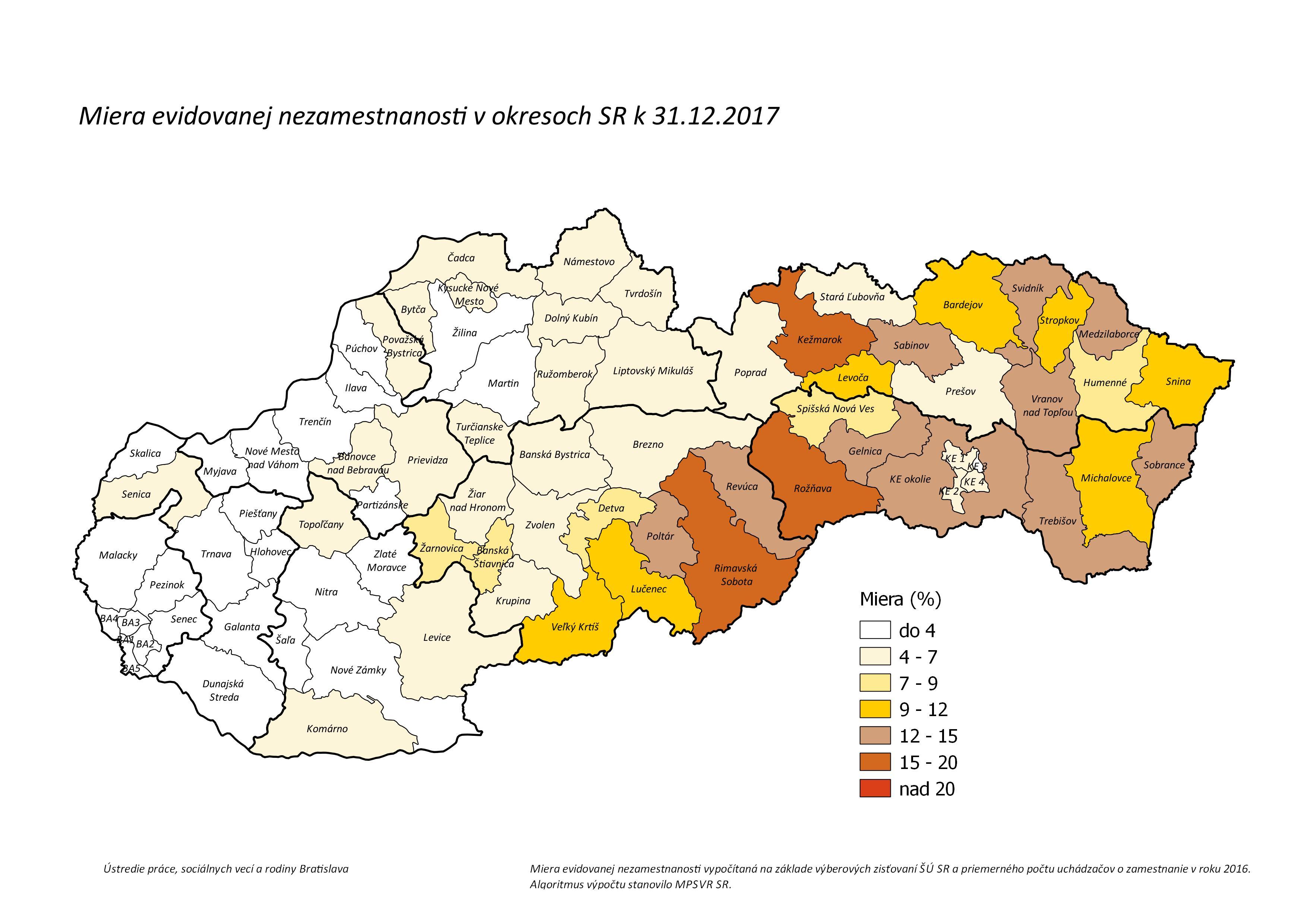 Miera evidovanej nezamestnanosti, nezamestnanosť v okresoch SR za december 2017