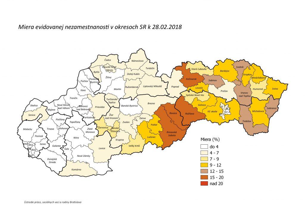 Miera nezamestnanosti v okresoch SR - mapa