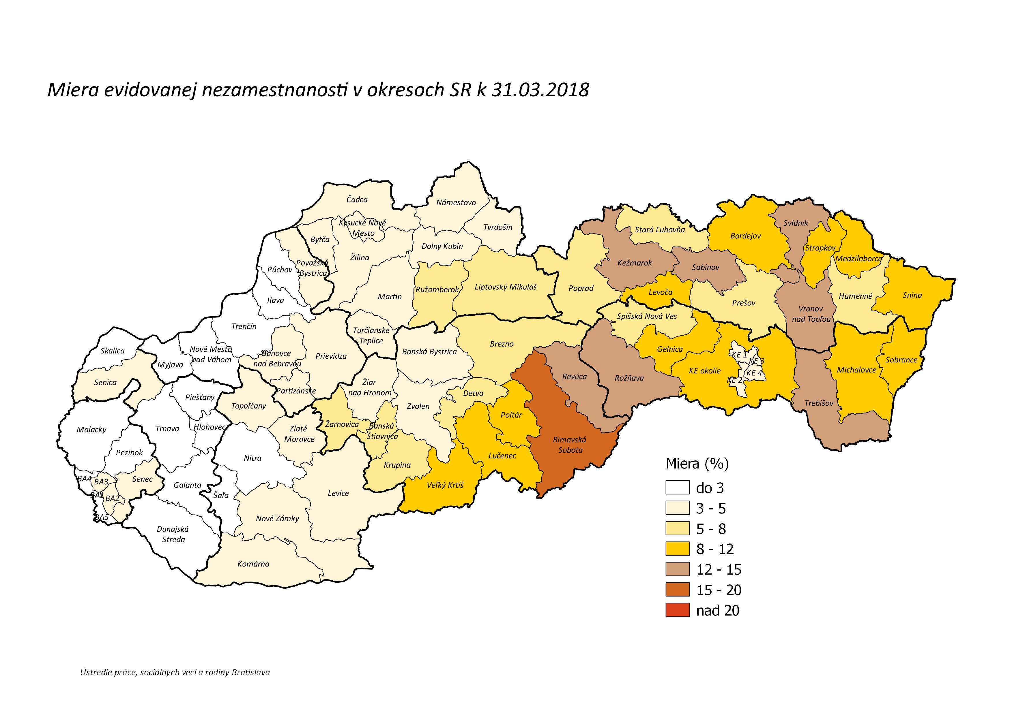 Evidovana miera nezamestnanosti na Slovensku