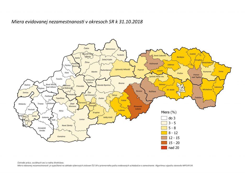 vyska nezamestnanosti v okresoch SR