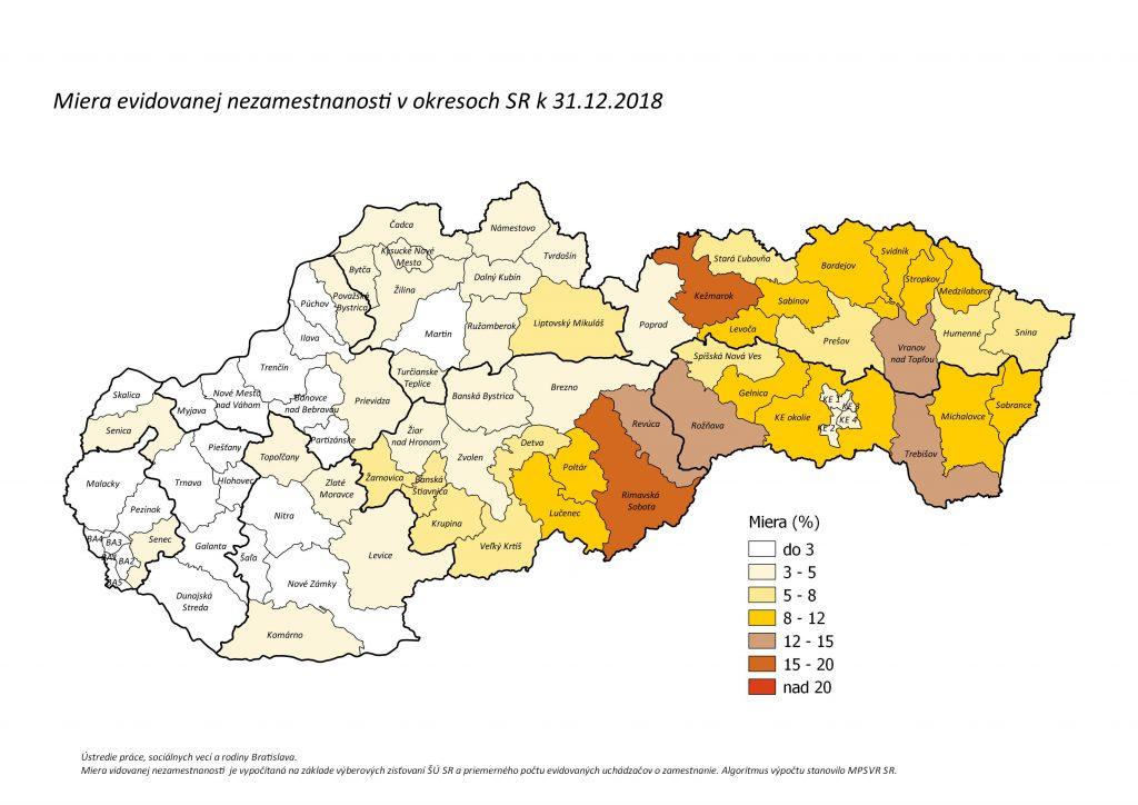 mapa nezamestnanosti v okresoch SR - december 2019